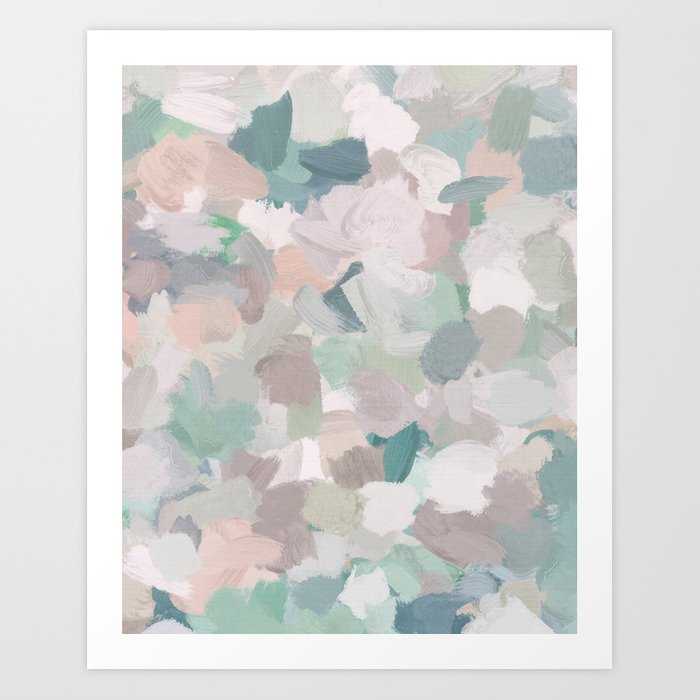 Mint Seafoam Green Dusty Rose Blush Pink Abstract Nature Flower Wall Art Spring Painting Print Art Print By Rachelelise