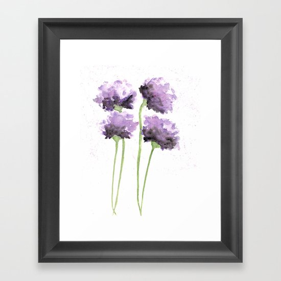Flowers, poppies, watercolor flowers Framed Art Print