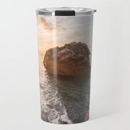 Rocky beach at sunset Travel Mug