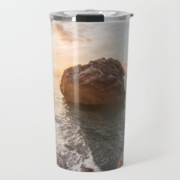 Rocky beach at sunset Travel Mug