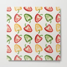 Mixed Peppers Pattern Metal Print