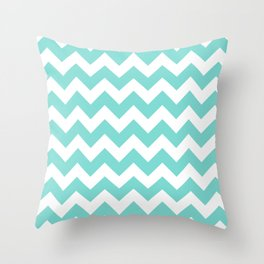 Chevrons White & Aqua Throw Pillow