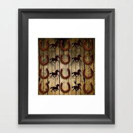 Horses and Horseshoes on Wood  backround Gifts Framed Art Print