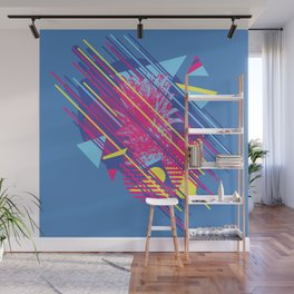 Pineapple with colorful geometric elements retro style design Wall Mural