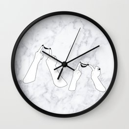 You girls are so pretty, you should smile Marble Wall Clock