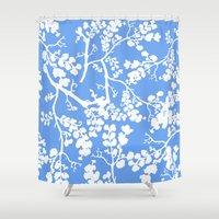 cherry blossom Shower Curtains featuring Cherry Blossom by Elena O'Neill