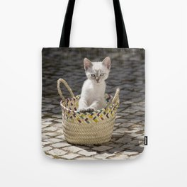 kitten in a rustic basket, Portugal Tote Bag