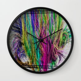 Colorful pink teal watercolor abstract grunge pattern Wall Clock
