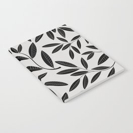 Black & White Plant Leaves Pattern Notebook