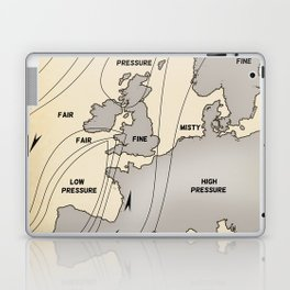 British Isles vintage weather map poster Laptop & iPad Skin
