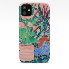 Jungle of House Plants Blush Still Life Painting with Blue Lion Figurine iPhone Case