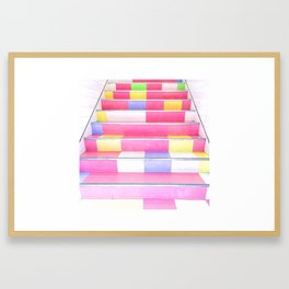 Harajuku Pink Stairs Framed Art Print