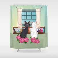 anime Shower Curtains featuring Anime Cats by MyimagesArt