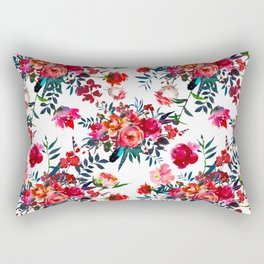 Bohemian pink green hand painted floral feathers pattern Rectangular Pillow