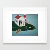 lighthouse Framed Art Prints featuring Lighthouse by Angela Dalinger