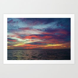 Fall sunset above Lake St. Clair, Canada Art Print