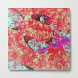 Scarlet Abstract Pattern Metal Print