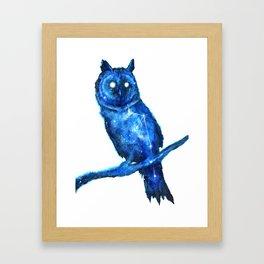 Owl Painting | Space Owl | Owl Constellation | Cosmic Owl | Blue Owl Framed Art Print