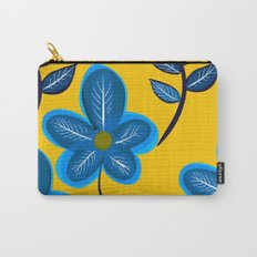 Blue Flowers and Yellow Pattern Carry-All Pouch