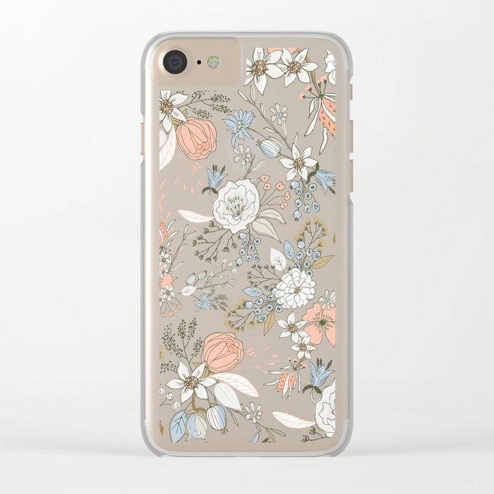 Abstract modern coral white pastel rustic floral Clear iPhone Case