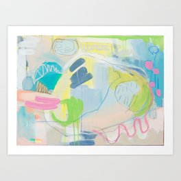 """on the side"" abstract painting in teal, lime, yellow, gray, white, and pink Art Print"
