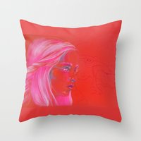 mother of dragons Throw Pillows featuring Mother of Dragons by Erin Garey