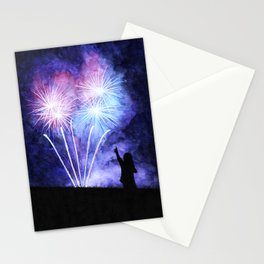 Blue and pink fireworks Stationery Cards