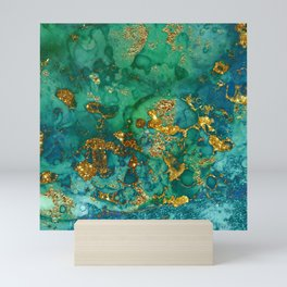 Malachite and Gold Glitter Stone Ink Abstract Gem Glamour Marble Mini Art Print
