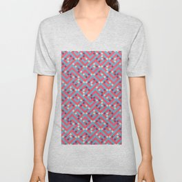 Geometric Labyrinth Red And Blue Unisex V-Neck