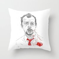shaun of the dead Throw Pillows featuring Shaun of the Dead by Andy Christofi