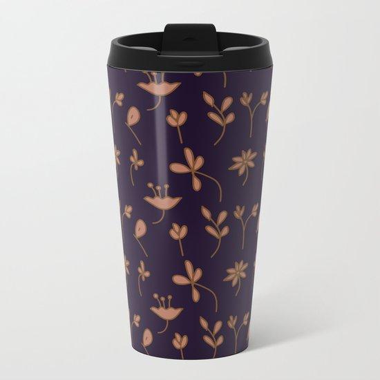 Hand Drawn Floral Elements Metal Travel Mug