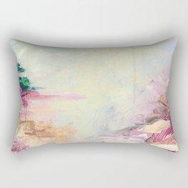 WINTER DREAMLAND 1 Colorful Pastel Aqua Marsala Burgundy Cream Nature Sea Abstract Acrylic Painting  Rectangular Pillow