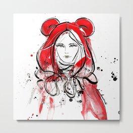 Miss Red Riding Hood Metal Print