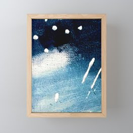 Meteor Shower - an abstract acrylic piece in blue and white Framed Mini Art Print