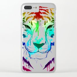 Young Color Splash Tiger Clear iPhone Case
