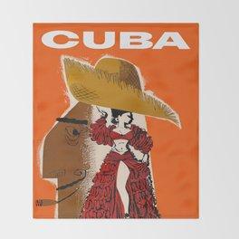 Vintage Travel Ad Cuba Throw Blanket