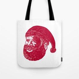 Santa Claus Head Woodcut Tote Bag