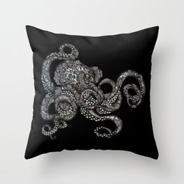 Barnacle Octopus in Black Throw Pillow