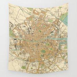 Vintage Map of Dublin Ireland (1914) Wall Tapestry