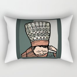 Central Asian Woman Thinking (in hat) Rectangular Pillow