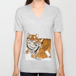 Tiger cub and mom (cheek-bump) Unisex V-Neck