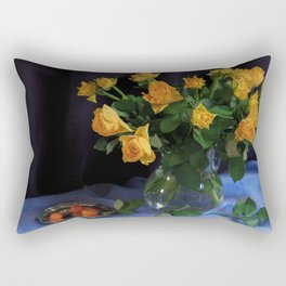 Still Life with Yellow Roses Bouquet Rectangular Pillow