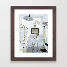 In The Bathroom Framed Art Print