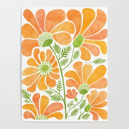 Happy California Poppies / hand drawn flowers Poster