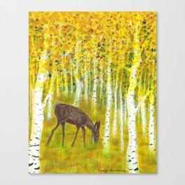 Deer Grazing in a Grove of Golden Aspen Trees Canvas Print