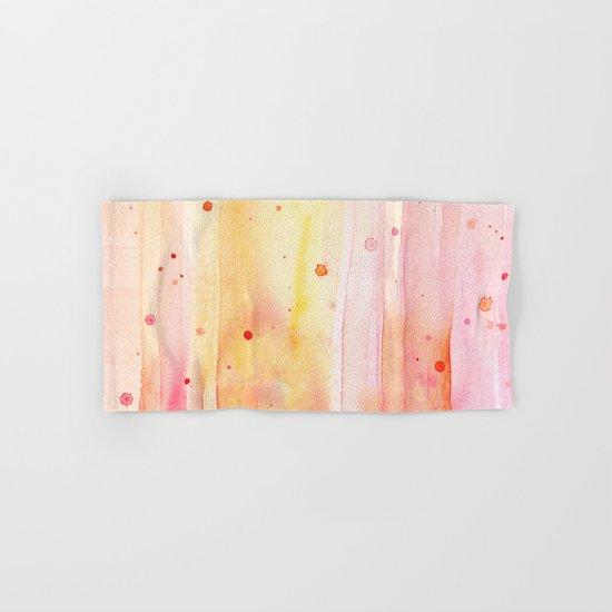 Pink Orange Rain Watercolor Texture Splatters Hand & Bath Towel