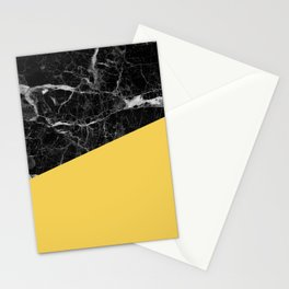 Black Marble and Primrose Yellow Color Stationery Cards