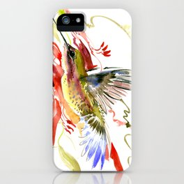 Flying Hummingbird and red tropical foliage iPhone Case