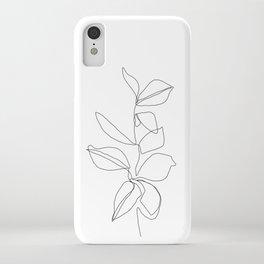 One line minimal plant leaves drawing - Birdie iPhone Case