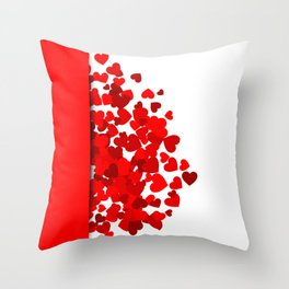 Hearts falling out of an envelope Throw Pillow